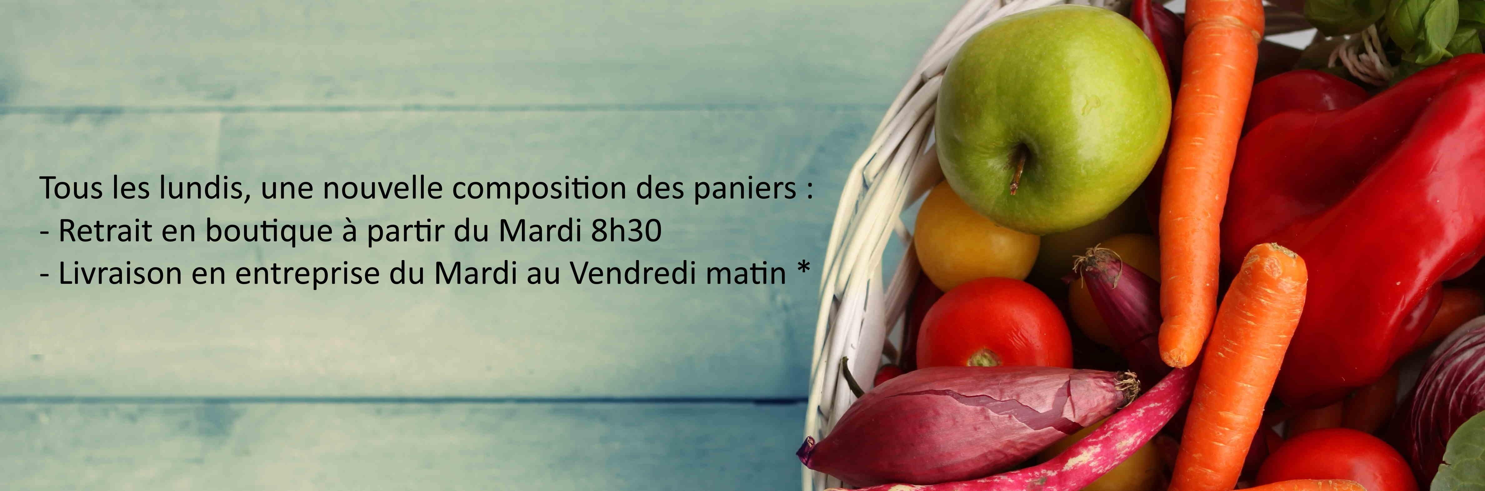 Tous les lundis, la composition des Paniers est Mise à Jour. Livraison en entreprise du Mardi au Vendredi dans la matinée. *
